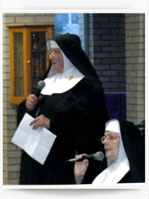 Mother Kathleen and Sister Clair speaking to Education Groups